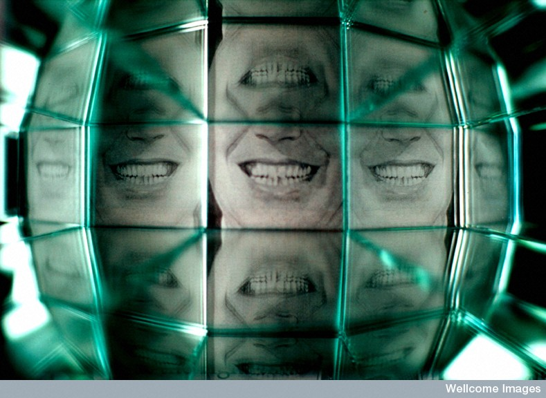 B0004384 Reflections of a smile Credit: Dianne Harris. Wellcome Images images@wellcome.ac.uk http://wellcomeimages.org A smile reflected in multiple mirrors. Photograph 2002 Published: - Copyrighted work available under Creative Commons by-nc-nd 4.0, see http://wellcomeimages.org/indexplus/page/Prices.html
